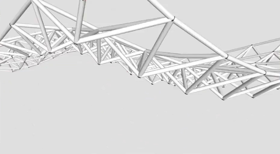 Space Truss Structure Curved Surfaces Sketchup Modeling-1_20151019142259